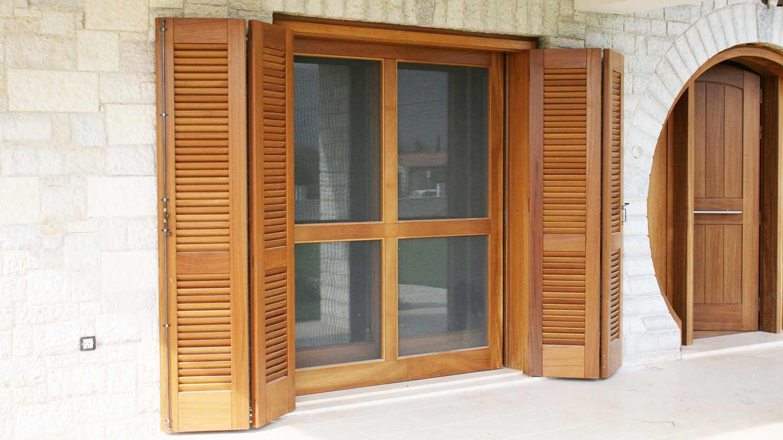 Four section balcony door made of solid wood IROCO